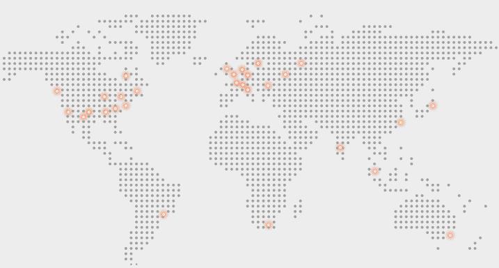 Her ser du plasseringen av de 29 datasentre som sikrer at epost og nettsteder ikke går ned som følge av at DNS tjeneren er utilgjengelige. Med ClouDNS har du en ekstrem feiltolleranse