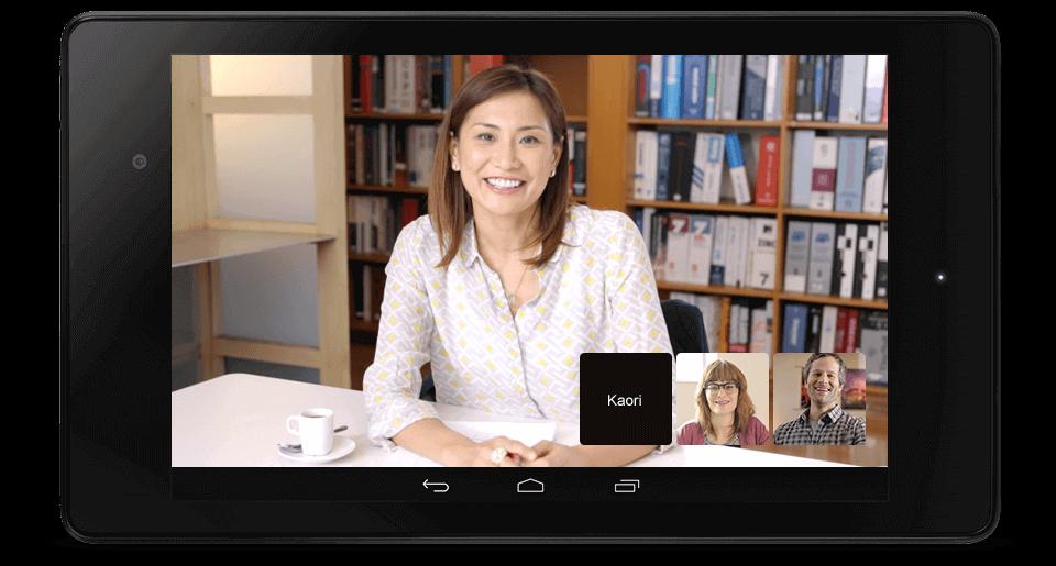 High Definisjon videomøter med opptil 15 deltagere med Meet. Deltagerne kan bruke nettbrett, mobil og PC i en salig blanding.